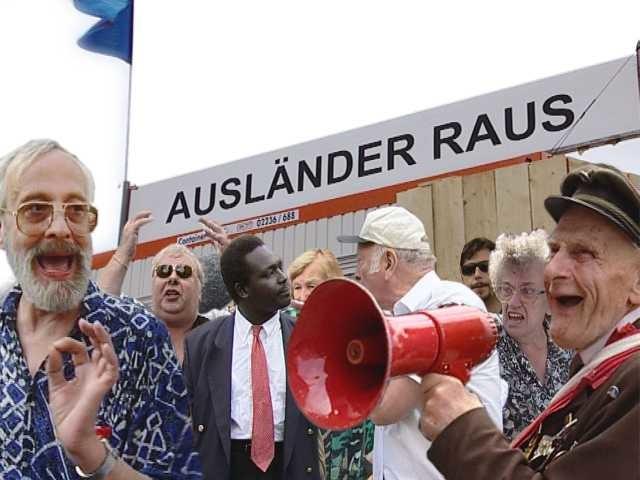 kleiner Christoph Schlingensief, Ausländer Raus-Bitte liebt Österreich, 2000, photo (collage) Paul Poet