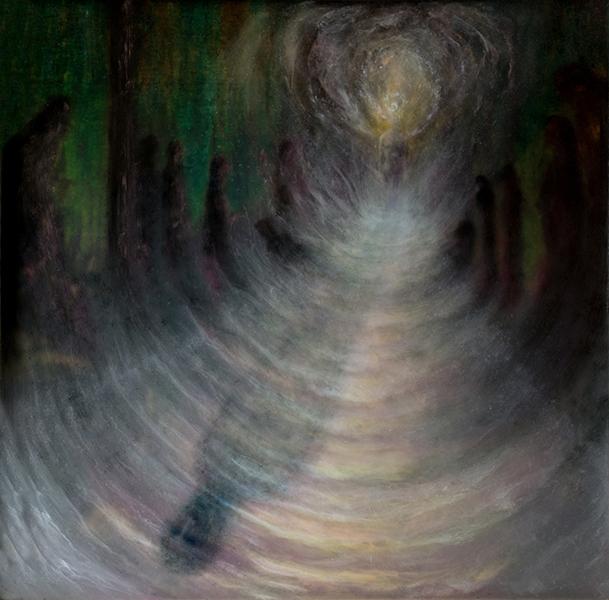 17. Mondo conoscibile, cm 46x49, resina e olio su tavola, 2016